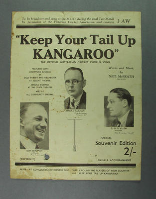 """Song sheet, """"Keep your Tail Up Kangaroo"""" - words & music by Neil McBeath c.1930s"""