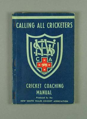 Book, NSW Cricket Coaching Manual 1955