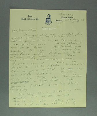 Handwritten letter from Emmie Luff, Lee's Hotel, Adelaide, 22 January 1948