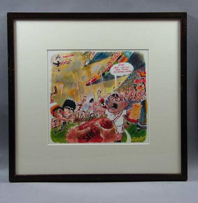 Artwork  - St Kilda v Adelaide football match by Peter Nicholson dated 27/9/97 - 'Stop!  Have I got all your travel allowance forms ?'