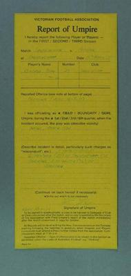 Completed Victorian Football Association umpire's report, 15 March 1987