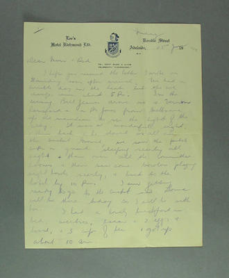 Handwritten letter from Emmie Luff, Lee's Hotel, Adelaide, 23 January 1948