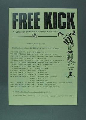 """VFA Umpires Association publication """"Free Kick"""", 26 March 1987; Documents and books; 1987.1643.9"""