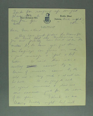 Handwritten letter from Emmie Luff, Lee's Hotel, Adelaide, January 1948