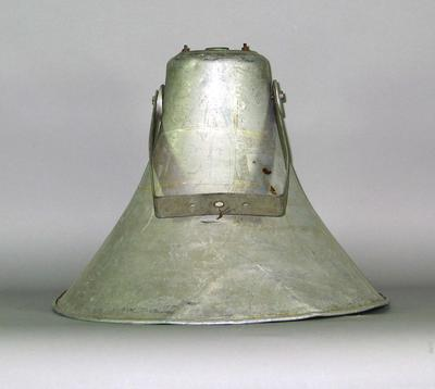 Large bell shaped aluminium speaker used by Harry Johns Boxing Troupe