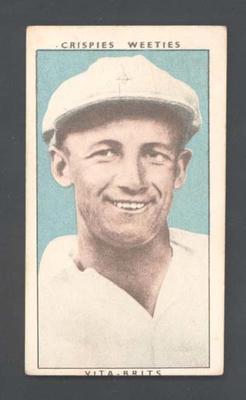 1948 Weeties Crispies Vita-Brits Leading Cricketers series Don Bradman trade card