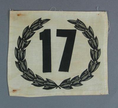 Cloth athlete's number, c1930s-40s
