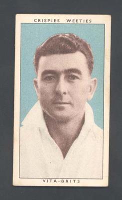 1948 Weeties Crispies Vita-Brits Leading Cricketers series Aubrey Carrigan trade card