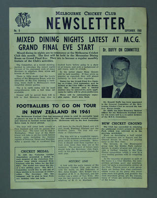 Melbourne Cricket Club Newsletter - issue no 9, Sept 1960