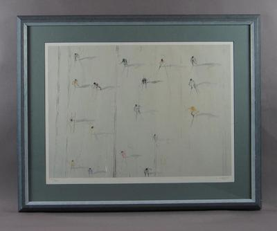 Framed print, depicts downhill skiers