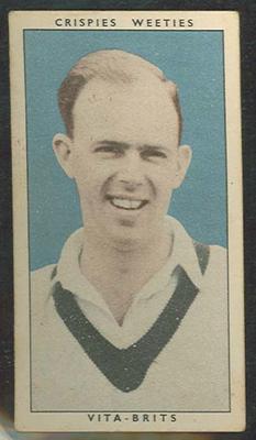 1948 Weeties Crispies Vita-Brits Leading Cricketers series Bill Johnson trade card