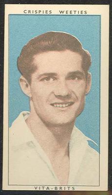 1948 Weeties Crispies Vita-Brits Leading Cricketers series Neil Harvey trade card