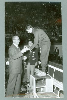 Photograph of Dawn Fraser receiving gold medal, 1956 Olympic Games; Photography; 2002.3870.59