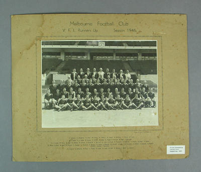 Photograph of Melbourne Football Club, 1946 VFL Runners Up