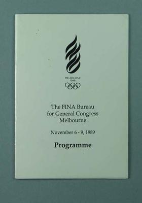 Programme, FINA General Congress 1989; Documents and books; 2002.3870.16