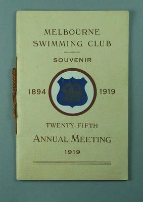 "Booklet, ""Melbourne Swimming Club Twenty-fifth Annual Meeting 1919"""