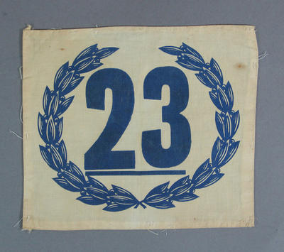 Cloth athlete's number, c1930s-40s; Clothing or accessories; 1994.3095.46