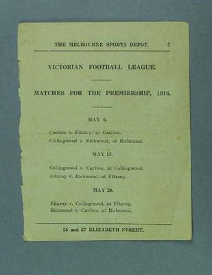 Page from a book, lists VFL Premiership matches for 6-20 May 1916