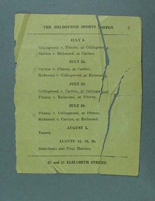 Page from a book, lists VFL Premiership matches for 8 July - 26 August 1916