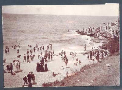 Photograph from Frank Laver's photograph album, view of beach circa 1900