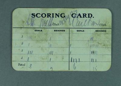 Umpire's scoring card for South Melb FC v Carlton FC match, 1917