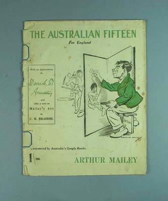 "Booklet, ""The Australian Fifteen for England"" - cartoons by A A Mailey, 1921"
