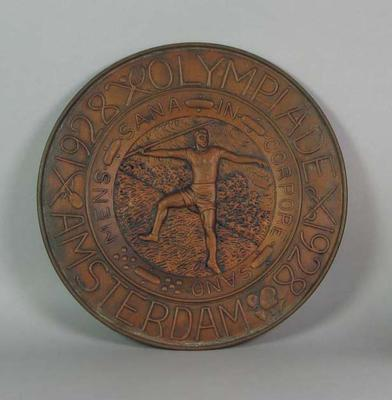 Metal plaque, 1928 Amsterdam Olympic Games