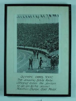 Photograph of Bikila Abebe winning men's marathon, 1964 Olympic Games