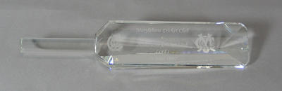 Cut glass commemorative cricket bat, Marylebone CC v Melbourne CC at Lords - 26 June 1997