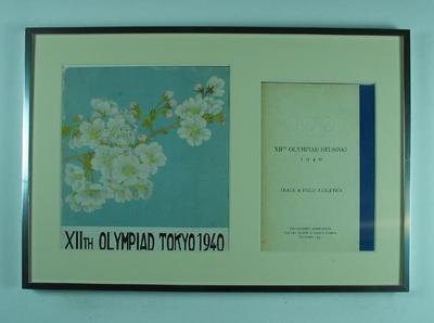 Programmes, XII Olympiad Tokyo 1940 & XII Olympiad Helsinki 1940 Track & Field; Documents and books; 2004.3948