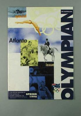 """Magazine, """"The Australian Olympian"""" Spring 1996; Documents and books; 2002.3870.11"""