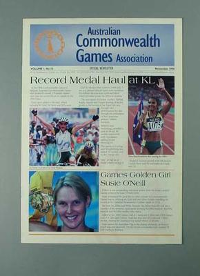 "Newsletter, ""Australian Commonwealth Games Association"" Nov 1998"