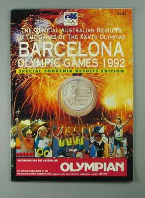 "Magazine, ""Olympian - Official Australian Results of 1992 Olympic Games""; Documents and books; 2002.3870.6"