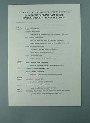 Errata to Barcelona results booklet, 1992 Australian Olympic Games team
