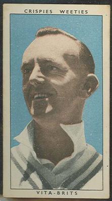 1948 Weeties Crispies Vita-Brits Leading Cricketers series Jack Pettiford trade card