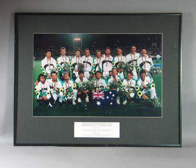 Photograph of Australian men's hockey team, 1992 Olympic Games; Photography; Framed; 2001.3814.32