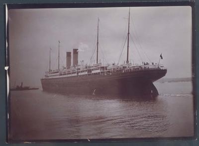 Photograph from Frank Laver's photograph album, view of passenger ship circa 1900