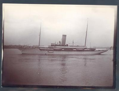 Photograph from Frank Laver's photograph album, view of passenger ship circa 1910
