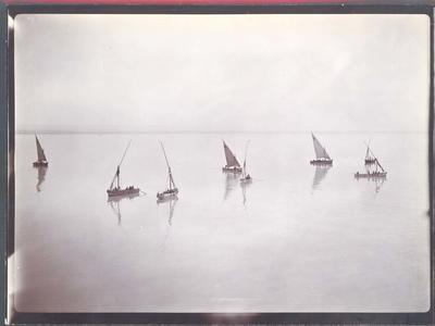 Photograph from Frank Laver's photograph album, sail boats on the Suez circa 1905