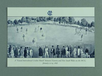 """Small card with MCG image, """"Grand Intercolonial Cricket Match, January 1858"""""""