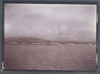 Photograph from Frank Laver's photograph album, view from passenger ship circa 1909