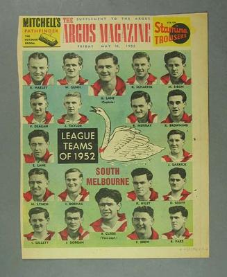 South Melbourne Football Club, Argus Newspaper, 11 July 1952