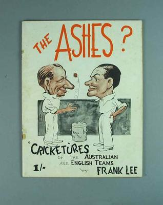 Book, containing caricatures of Australian & English cricketers by Frank Lee c1930s