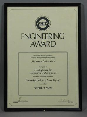 Engineering Award presented to MCC by ACEA re Floodlighting for MCG
