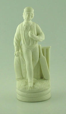 Parian ware figurine of a cricketer