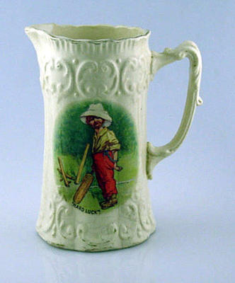 ' Hard Luck ' - ceramic jug with image of boy cricketer