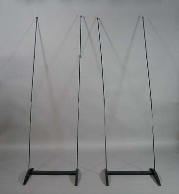 Stand for banner, stored in tubular case