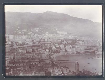 Photograph from Frank Laver's photograph album, view of harbour in France circa 1909