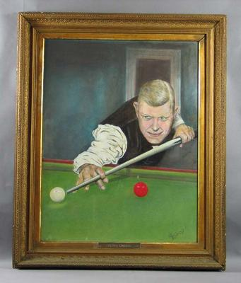 Framed painting of Walter Lindrum, c1960-65