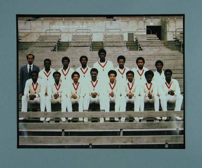 Photograph, West Indian Cricket Team with manager Dr Rudi Webster